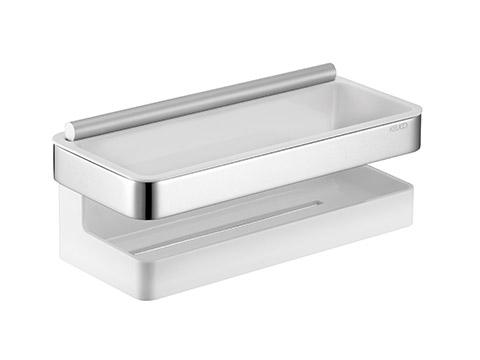 Panier rectangulaire avec raclette blanc-0